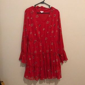 ruffly red floral dress